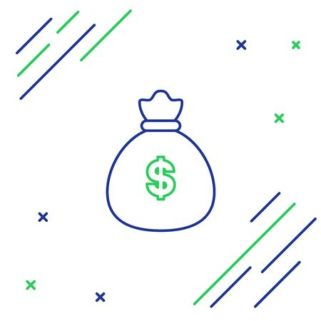 Blue and green line Money bag icon isolated on white background. Dollar or USD symbol. Cash Banking currency sign. Colorful outline concept. Vector Illustration