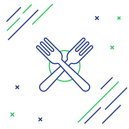 Blue and green line Crossed fork icon isolated on white background. Cutlery symbol. Colorful outline concept. Vector Illustration