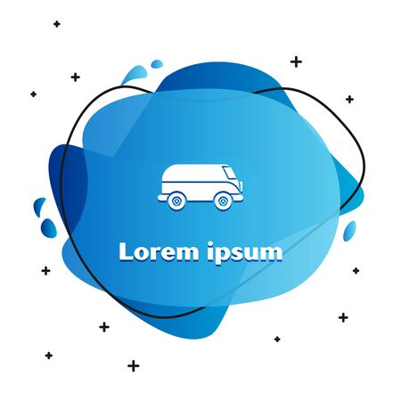 White Retro minivan icon isolated on white background. Old retro classic traveling van. Abstract banner with liquid shapes. Vector Illustration