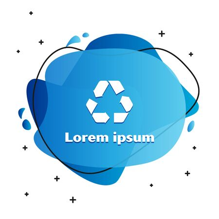 White Recycle symbol icon isolated on white background. Circular arrow icon. Environment recyclable go green. Abstract banner with liquid shapes. Vector Illustration