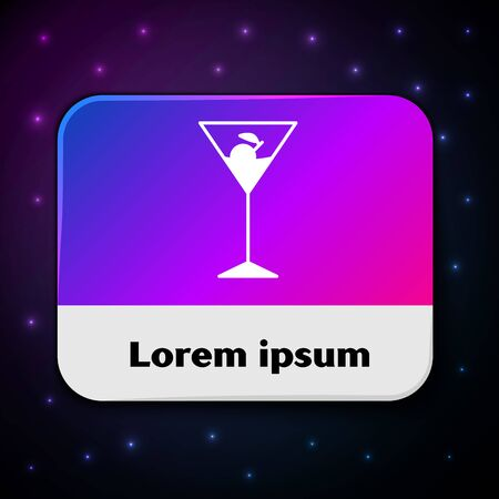 White Martini glass icon isolated on black background. Cocktail icon. Wine glass icon. Rectangle color button. Vector Illustration