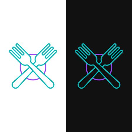 Green and purple line Crossed fork icon isolated on white and black background. Cutlery symbol. Vector Illustration Stock Illustratie