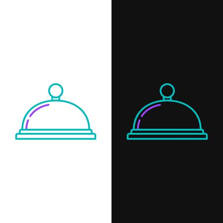 Green and purple line Covered with a tray of food icon isolated on white and black background. Tray and lid sign. Restaurant cloche with lid. Kitchenware symbol. Vector Illustration