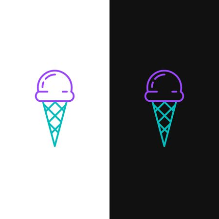 Green and purple line Ice cream in waffle cone icon isolated on white and black background. Sweet symbol. Vector Illustration