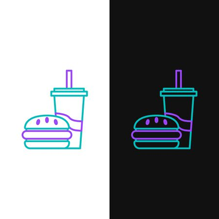 Green and purple line Paper glass with drinking straw and burger icon isolated on white and black background. Soda aqua drink sign. Hamburger, cheeseburger sandwich. Vector Illustration Ilustração