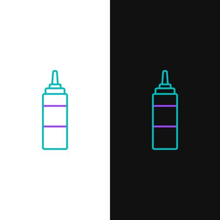 Green and purple line Sauce bottle icon isolated on white and black background. Ketchup, mustard and mayonnaise bottles with sauce for fast food. Vector Illustration Ilustração