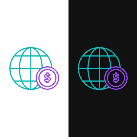 Green and purple line Earth globe with dollar symbol icon isolated on white and black background. World or Earth sign. Global internet symbol. Geometric shapes. Vector Illustration