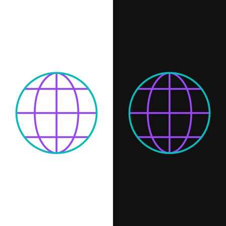 Green and purple line Earth globe icon isolated on white and black background. World or Earth sign. Global internet symbol. Geometric shapes. Vector Illustration