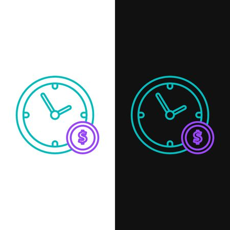 Green and purple line Time is money icon isolated on white and black background. Money is time. Effective time management. Convert time to money. Vector Illustration Ilustração
