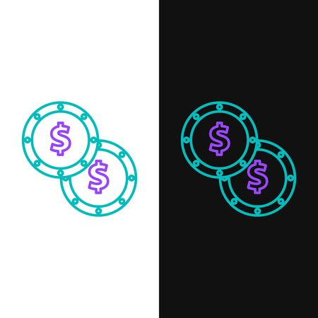 Green and purple line Coin money with dollar symbol icon isolated on white and black background. Banking currency sign. Cash symbol. Vector Illustration  イラスト・ベクター素材