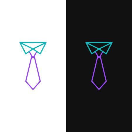 Green and purple line Tie icon isolated on white and black background. Necktie and neckcloth symbol. Vector Illustration