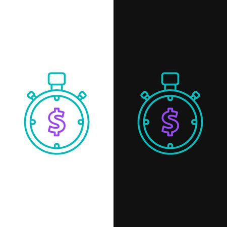 Green and purple line Time is money icon isolated on white and black background. Money is time. Effective time management. Convert time to money. Stopwatch sign. Vector Illustration Ilustração