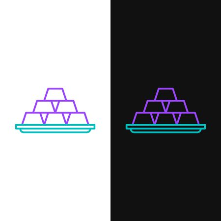 Green and purple line Gold bars icon isolated on white and black background. Banking business concept. Vector Illustration  イラスト・ベクター素材