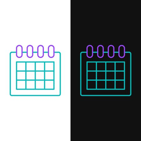 Green and purple line Calendar icon isolated on white and black background. Event reminder symbol. Vector Illustration Ilustração