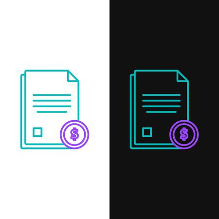 Green and purple line Finance document icon isolated on white and black background. Paper bank document with dollar coin for invoice or bill concept. Vector Illustration