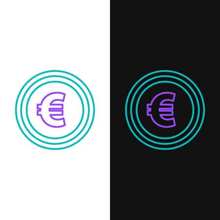 Green and purple line Coin money with euro symbol icon isolated on white and black background. Banking currency sign. Cash symbol. Vector Illustration  イラスト・ベクター素材