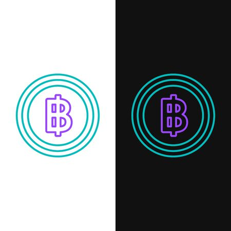 Green and purple line Cryptocurrency coin Bitcoin icon isolated on white and black background. Blockchain technology, bitcoin, digital money market, cryptocoin wallet. Vector Illustration