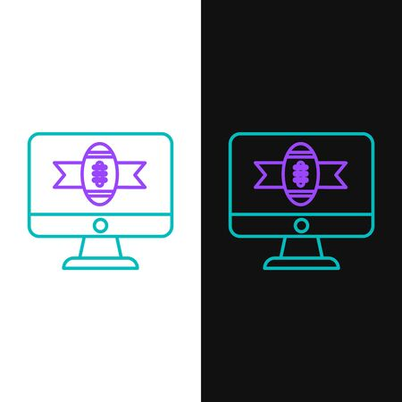 Green and purple line American football on tv program icon isolated on white and black background. Vector Illustration Illustration