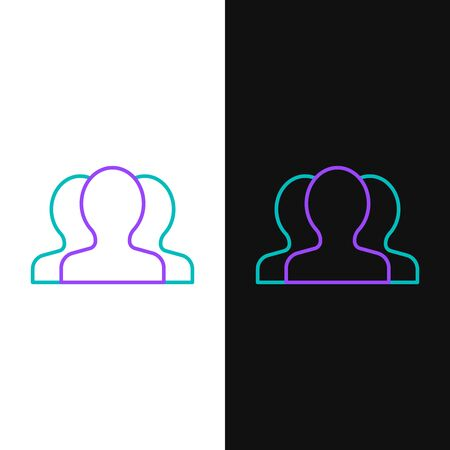 Green and purple line Users group icon isolated on white and black background. Group of people icon. Business avatar symbol - users profile icon. Vector Illustration