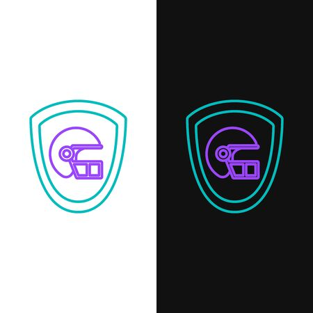Green and purple line American football helmet and shield icon isolated on white and black background. Vector Illustration
