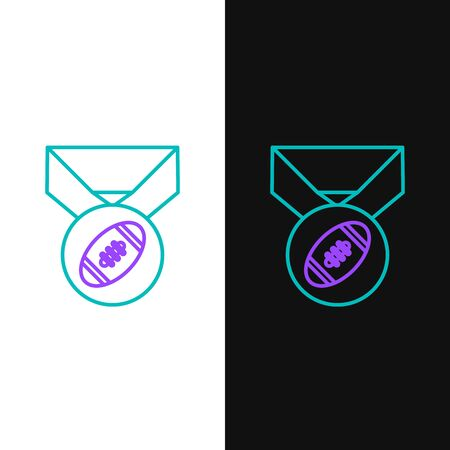 Green and purple line American Football ball with medal icon isolated on white and black background. Vector Illustration Illustration