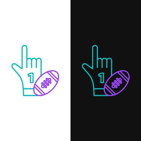 Green and purple line Number 1 one fan hand glove with finger raised and american football ball icon isolated on white and black background. Set of sport equipment. Vector Illustration Stock Illustratie