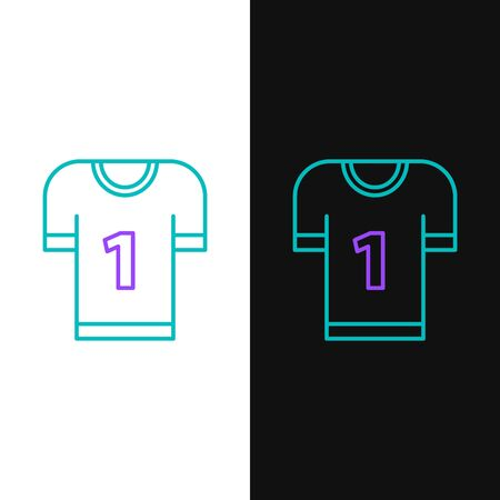 Green and purple line American football jersey icon isolated on white and black background. Football uniform sign. Vector Illustration