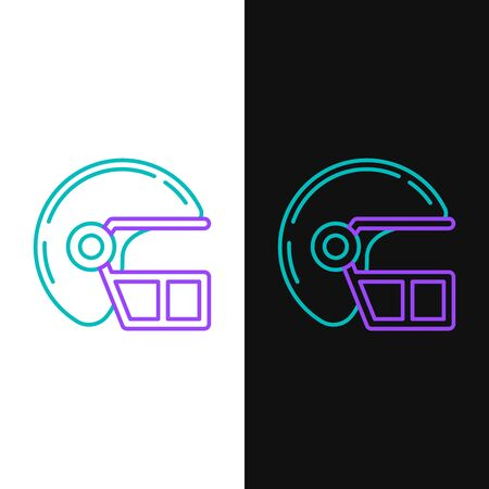 Green and purple line American football helmet icon isolated on white and black background. Vector Illustration