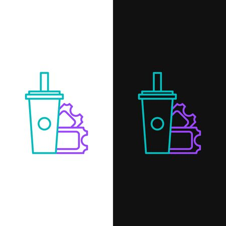 Green and purple line American Football ticket and paper glass soda with drinking straw icon isolated on white and black background. Vector Illustration