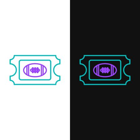 Green and purple line American Football ticket icon isolated on white and black background. Vector Illustration