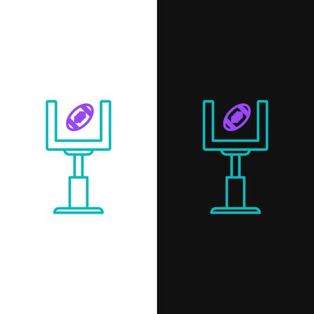 Green and purple line American football goal post and football ball icon isolated on white and black background. Vector Illustration