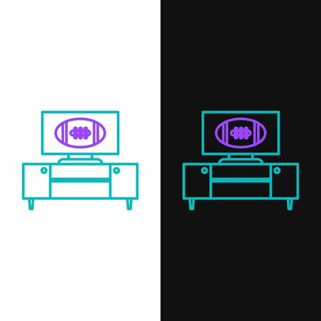 Green and purple line American football on tv program and stand icon isolated on white and black background. Vector Illustration