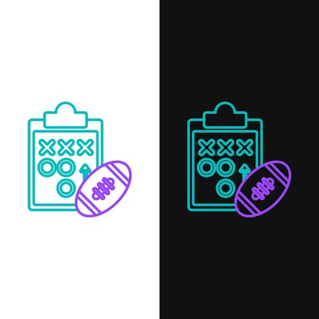 Green and purple line Planning strategy concept icon isolated on white and black background. Soccer or american football cup formation and tactic. Vector Illustration Çizim
