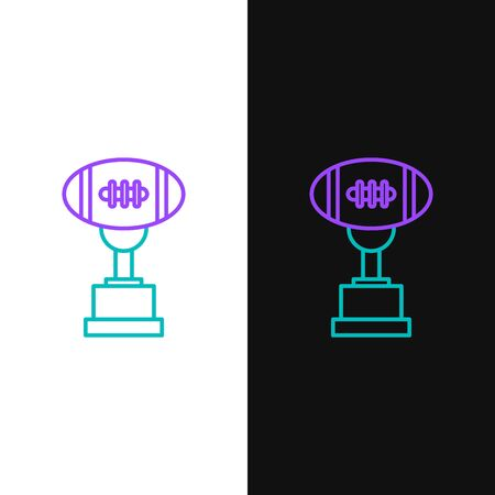 Green and purple line Award cup and American football ball icon isolated on white and black background. Winner trophy symbol. Championship or competition trophy. Vector Illustration