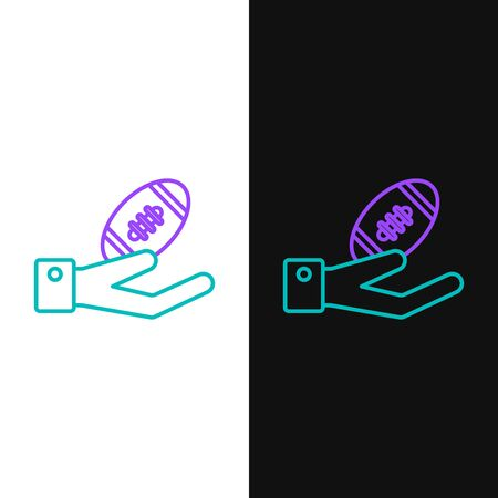 Green and purple line American Football ball on hand icon isolated on white and black background. Rugby ball icon. Team sport game symbol. Vector Illustration Illustration