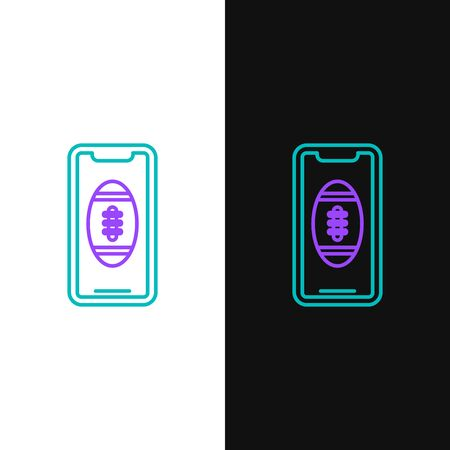 Green and purple line Smartphone with american football ball on the screen icon isolated on white and black background. Online football game for mobile phone. Vector Illustration Illustration