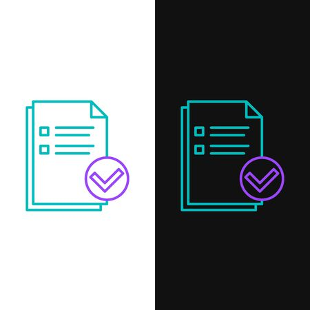 Green and purple line Document and check mark icon isolated on white and black background. Checklist icon. Business concept. Vector Illustration