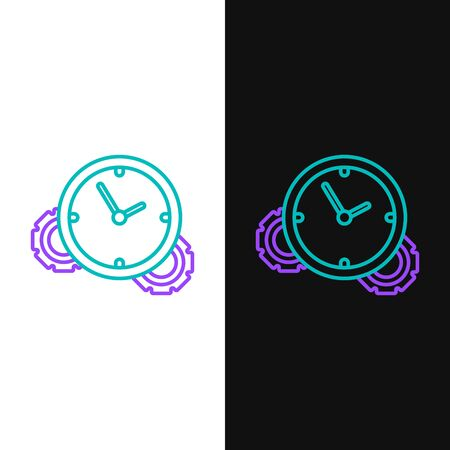 Green and purple line Time Management icon isolated on white and black background. Clock and gear sign. Productivity symbol. Vector Illustration Ilustração