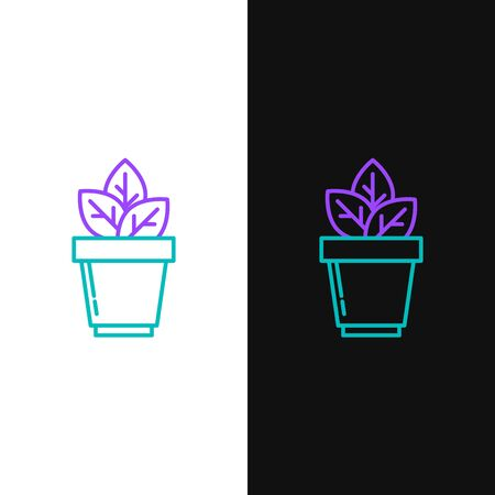 Green and purple line Flowers in pot icon isolated on white and black background. Plant growing in a pot. Potted plant sign. Vector Illustration