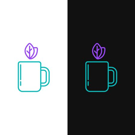 Green and purple line Cup of tea and leaf icon isolated on white and black background. Vector Illustration