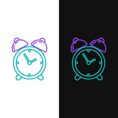 Green and purple line Alarm clock icon isolated on white and black background. Wake up, get up concept. Time sign. Vector Illustration