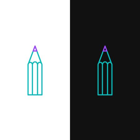 Green and purple line Pencil icon isolated on white and black background. Education sign. Drawing and educational tools. School office symbol. Vector Illustration