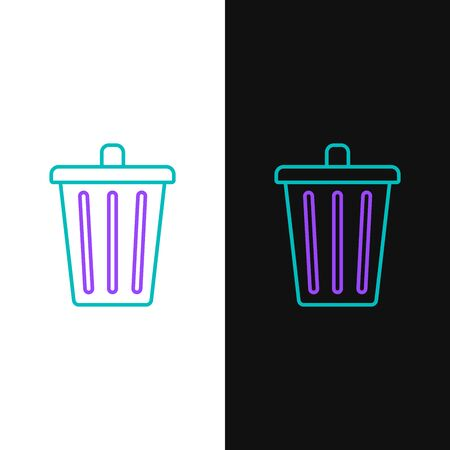 Green and purple line Trash can icon isolated on white and black background. Garbage bin sign. Recycle basket icon. Office trash icon. Vector Illustration