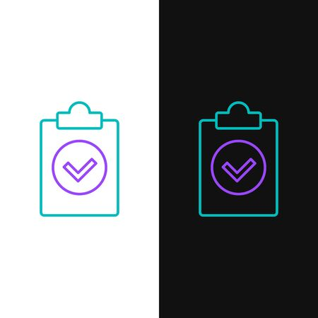 Green and purple line Completed task icon isolated on white and black background. Compliance inspection approved. Checklist sign. Certified document symbol. Vector Illustration