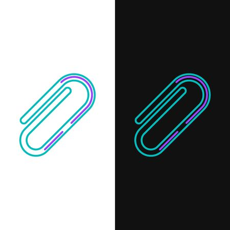 Green and purple line Paper clip icon isolated on white and black background. Vector Illustration Ilustração