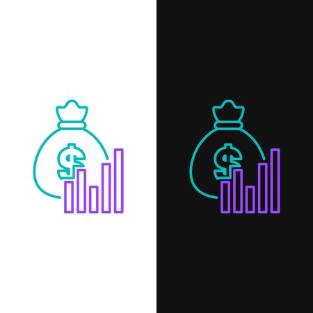 Green and purple line Money bag and diagram graph icon isolated on white and black background. Financial analytics, budget planning, finance managemen. Vector Illustration Ilustração