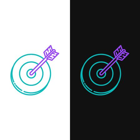 Green and purple line Target icon isolated on white and black background. Investment target icon. Successful business concept. Cash or Money sign. Vector Illustration