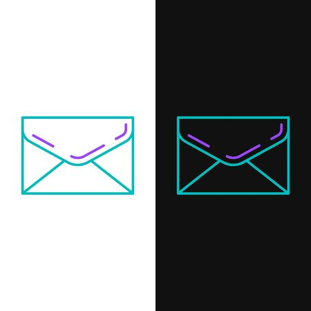 Green and purple line Envelope icon isolated on white and black background. Email message letter symbol. Vector Illustration