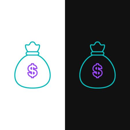 Green and purple line Money bag icon isolated on white and black background. Dollar or USD symbol. Cash Banking currency sign. Vector Illustration