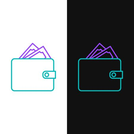 Green and purple line Wallet with stacks paper money cash icon isolated on white and black background. Purse icon. Cash savings symbol. Vector Illustration